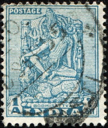 bodhisattva: INDIA - CIRCA 1949: A stamp prunted in India sshows Bodhisattva, circa 1949