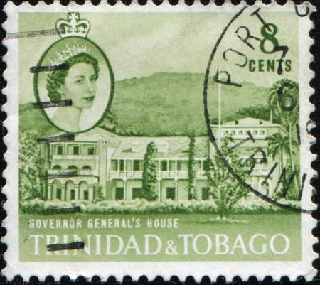 TRINIDAD AND TOBAGO - CIRCA 1960: A stamp printed in Trinidad and Tobago shows Governor General's house, circa 1960 Stock Photo - 8877990