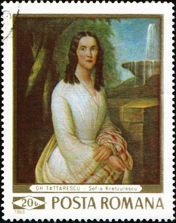 postoffice: ROMANIA - CIRCA 1969: A stamp printed in Romania shows protrait of Sofia Kretzulescu, by Gheorghe Tattarescu, circa 1969