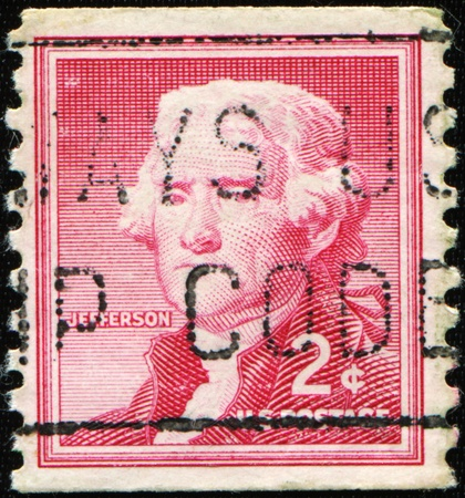 USA - CIRCA 1930: A stamp printed in USA shows image portrait Thomas Jefferson (April 13, 1743 - July 4, 1826) was the third President of the United States (1801-1809), circa 1930 Stock Photo - 8878502