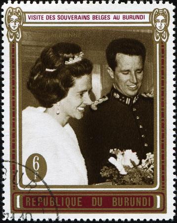 baudouin: BURUNDI - CIRCA 1970: A stamp printed in Burundi devoted Visit the royal family of Belgium in Burundi, circa 1970