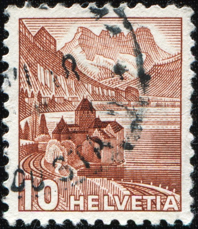 chillon: SWITZERLAND - CIRCA 1948: A stamp printed in Switzerland shows Castle of Chillon, circa 1948