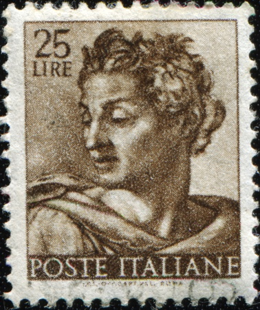 ITALY - CIRCA 1961: A stamp printed in Italy shows Isaiah, fragment of painted ceiling of the Sistine Chapel, Vatican, fresco by Michelangelo, circa 1961 Stock Photo - 8888596
