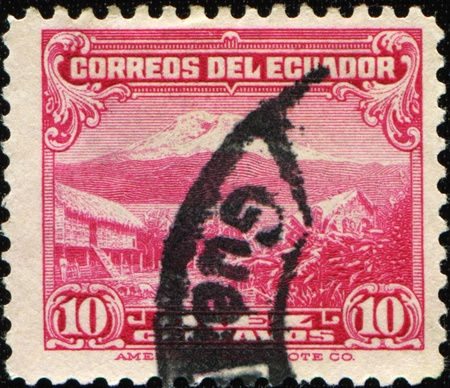 ECUADOR - CIRCA 1934-1945: A stamp printed in Ecuador shows Mount Chimborazo, circa 1934-1945  photo