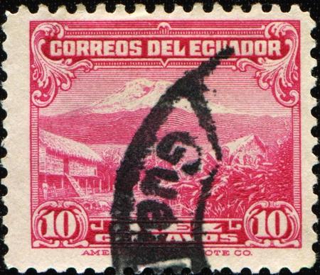 ECUADOR - CIRCA 1934-1945: A stamp printed in Ecuador shows Mount Chimborazo, circa 1934-1945  photo