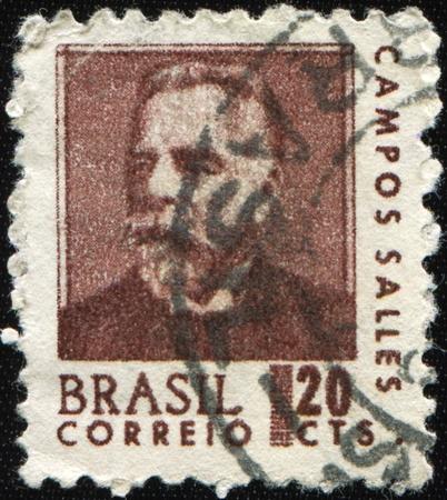 dr: BRAZIL - CIRCA 1906: A stamp printed in Brazil shows president Dr Manuel Ferraz de Campos Salles, circa 1906 Stock Photo