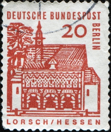 bundes: WEST GERMANY - CIRCA 1968: A stamp printed in West Germany shows Abbey Lorsch (Hesse) was established, the larger estates and churches in the country had Neckar, circa 1968