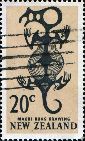 NEW ZEALAND - CIRCA 1964: A stamp printed in New Zealand show image of a Maori rock drawing, series, circa 1964  photo