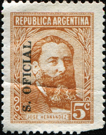poem: ARGENTINA - CIRCA 1957: A stamp printed in Argentina shows Jose Hernandez was an Argentine journalist, poet, and politician best known as the author of the epic poem Martín Fierro, circa 1957