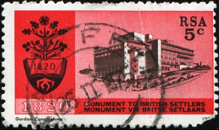 rsa: RSA - CIRCA 1970: A stamp printed in Republic of South Africa shows Monument to British Settlersl, circa 1970 Stock Photo