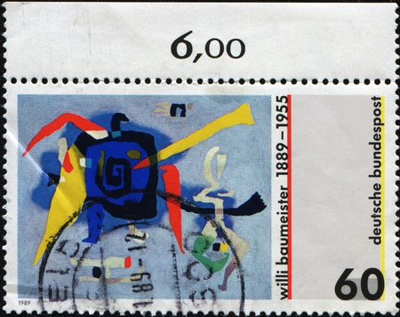 GERMANY - CIRCA 1995: A stamp printed in Germany shows draw by Willi Baumeister, circa 1995  photo