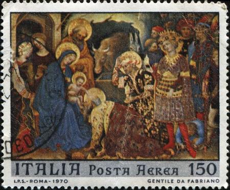 gentile: ITALY - CIRCA 1970: A stamp printed in Italy shows draw by Gentile da Fabriano, circa 1970 Editorial