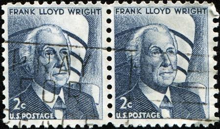 frank: UNITED STATES OF AMERICA - CIRCA 1966: A stamp printed in the United States of America shows Frank Lloyd Wright, circa 1966