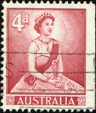 queen elizabeth: AUSTRALIA - CIRCA 1958: A stamp printed in Australia shows Queen Elizabeth, circa 1958  Editorial