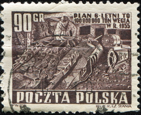 POLAND - CIRCA 1955: A stamp printed in Poland shows worker in coal mine, circa 1955 Stock Photo - 8964256