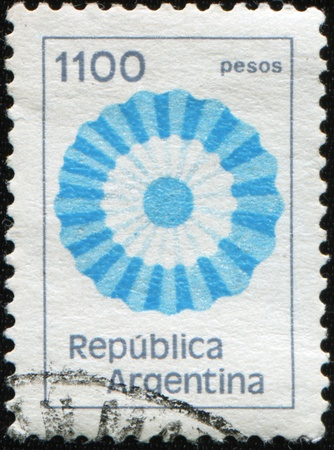 ARGENTINA - CIRCA 1979: A stamp printed in Argentina shows Argentine Cockade is one of the national symbols of Argentina, circa 1979  photo