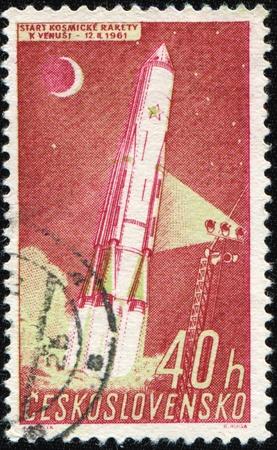 czechoslovakia: CZECHOSLOVAKIA - CIRCA 1961: A stamp printed in Czechoslovakia shows launch of rocket, circa 1961  Stock Photo