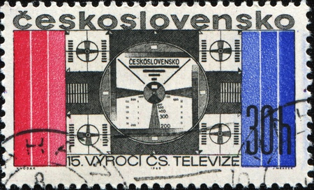 CZECHOSLOVAKIA - CIRCA 1968: A stamp printed in Czechoslovakia shows Adjustment television signal, circa 1968 Stock Photo - 9065828