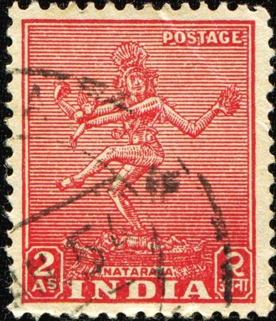 indian postal stamp: INDIA - CIRCA 1949: A stamp printed in India shows Nataraja, series, circa 1949