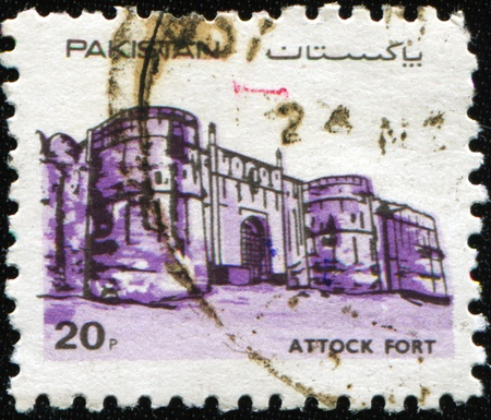AKISTAN - CIRCA 1984: A stamp printed in Pakistan shows Attock fort was built at Attock Khurd during the reign of Akbar the Great from 1581 to 1583, circa 1984 Stock Photo - 9065924