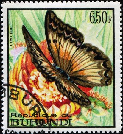 BURUNDI - CIRCA 1973: A stamp printed in Burundi shows butterfly Cymothoe, circa 1973 Stock Photo - 9065935