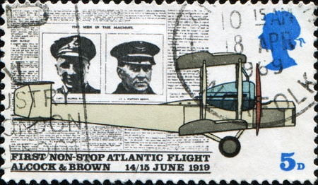 avia: GREAT BRITAIN - CIRCA 1992: A stamp printed in Great Britain honors first non-stop Atlantic flight by Alcock and Brown, circa 1992  Stock Photo