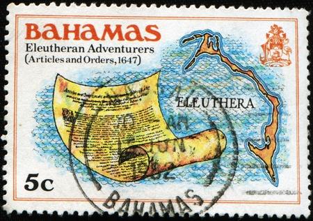 concerted: BAHAMAS - CIRCA 1980: A stam printed in Bahamas honoring Eleutheran Adventures , circa 1980  Stock Photo