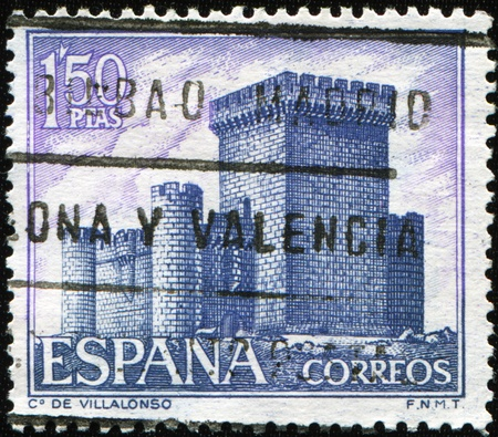 SPAIN - CIRCA 1969: A stamp printed in Spain shows Villalonso Castle, circa 1969 Stock Photo - 9065962