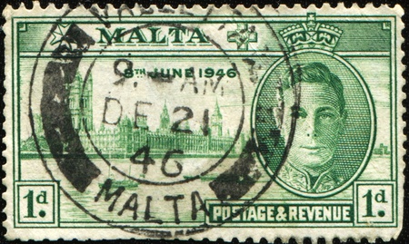 MALTA - CIRCA 1946: A stamp honoring The London Victory Celebrations of 1946 were British Commonwealth, Empire and Allied victory celebrations held after the defeat of Nazi Germany and Japan in World War II.The celebrations took place in London on 8 June