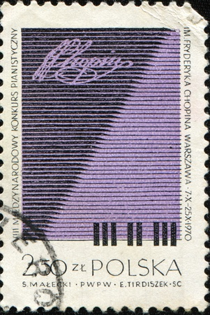 frederic: POLAND - CIRCA 1970: A stamp printed by Poland honoring  Frederic Chopin International Piano Competition, circa  1970