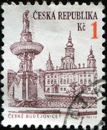 ceske: CZECH REPUBLIC - CIRCA 1995: A stamp printed in Czech Republic shows view of Ceske Budejovices town square, circa 1995 Stock Photo