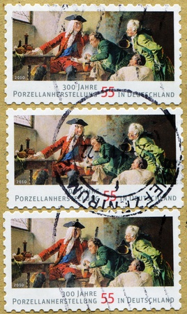 55 years old: GERMANY - CIRCA 2010: A stamp devoted 300 years of porcelain production in Germany, series honoring 55 years old Federal Republic of Germany, circa 2010