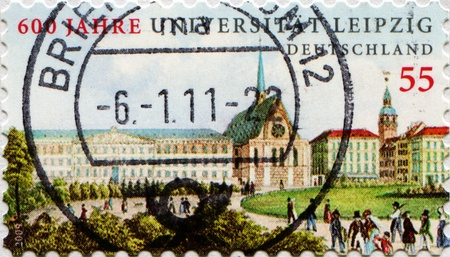 55 years old: GERMANY - CIRCA 2010: A stamp shows Leipzig University, series honoring 55 years old Federal Republic of Germany, circa 2010