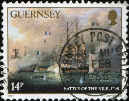 nile: UNITED KINGDOM - CIRCA 1986: A stamp printed in the UK shows Battle of the Nile also known as the Battle of Aboukir Bay, 1798, circa 1986