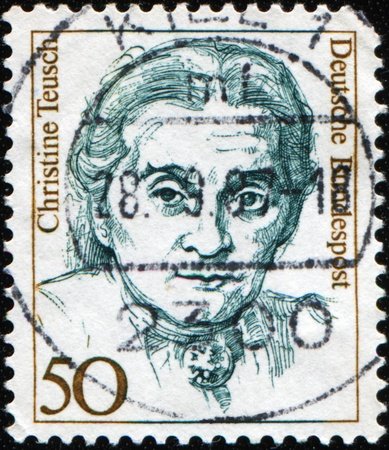 christine: GERMANY - CIRCA 1986: A stamp printed in German Federal Republic shows Famous German Women Christine Teusch, politician, series, circa 1986