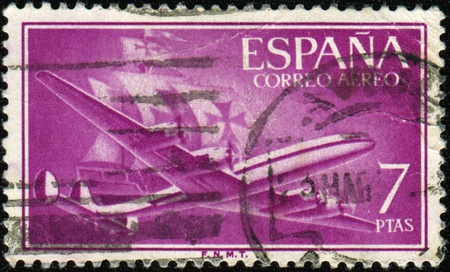 caravelle: SPAIN - CIRCA 1955: A stamp printed in Spain shows Air Lockheed L.1049 Super Constellation and Caravel, circa 1955