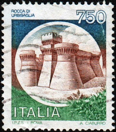 italiA: ITALY - CIRCA 1990: A stamp printed in Italy shows image of the Rock of Urbisaglia, series, circa 1990  Stock Photo