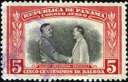 PANAMA - CIRCA 1949: A stamp printed in Panama devoted Cancer Research Fundation F  D Roosevelt and J D Arosemena Surch LUCHA CONTRA EL CANCER and value, circa 1949 Stock Photo - 9180323