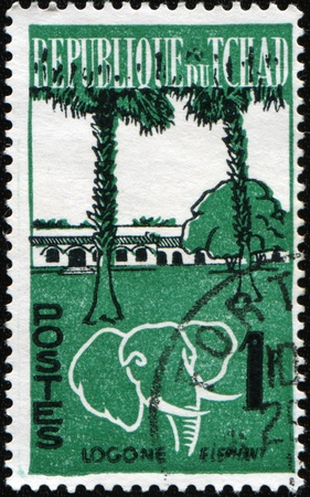 CHAD - CIRCA 1961: A stamp printed in Chad shows Logone and elephant, circa 1961 Stock Photo - 9180319