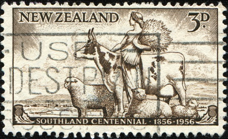 NEW ZEALAND - CIRCA 1956: A stamp printed in New Zealand honoring Southland centenial, circa 1956 Stock Photo - 9180322