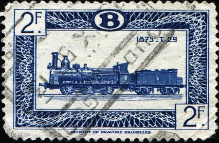 BELGIUM - CIRCA 1949: A stamp printed in Belgium shows Type 29 locomotive, circa 1949 Stock Photo - 9180321