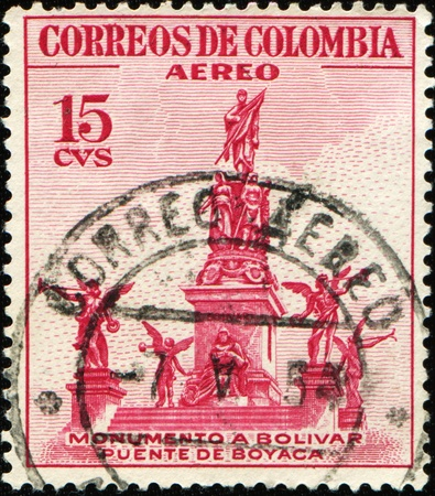 COLOMBIA - CIRCA 1954: A stamp printed in Colombia shows Monument to Simon Bolivar in Punte de Boyaca, circa 1954 Stock Photo - 9231657