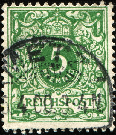 definitive: GERMANY- CIRCA 1900: A stamp printed in German Empire  shows5 Pfennig, Definitive series of German colonies, circa 1900 Stock Photo