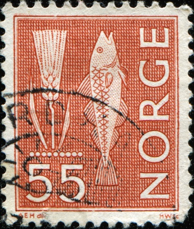 demersal: NORWAY - CIRCA 1962: A stamp printed in Norway shows Ear of wheat and Atlantic cod, Gadus morhua, is a well-known demersal food fish belonging to the family Gadidae, circa 1962