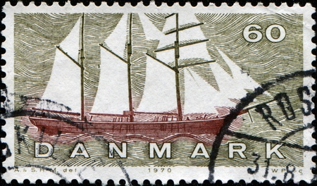schooner: DENMARK - CIRCA 1970: A stamp printed in Denmark shows Thuroe schooner with topgallant, circa 1970  Stock Photo