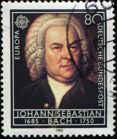 GERMANY - CIRCA 1985: A Stamp printed in the GERMANY shows portrait of the composer Johann Sebastian Bach, circa 1985 Foto de archivo
