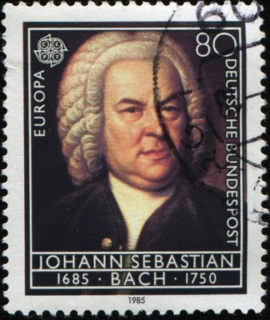 GERMANY - CIRCA 1985: A Stamp printed in the GERMANY shows portrait of the composer Johann Sebastian Bach, circa 1985 Standard-Bild