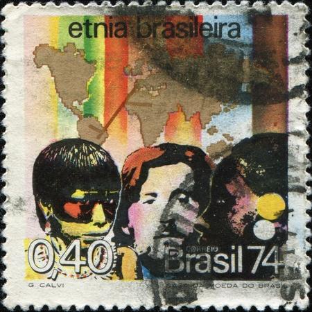 brazilian ethnicity: BRAZIL - CIRCA 1974: A stamp printed in Brazil shows Brazilian ethnicity, circa 1974 Stock Photo