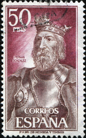 SPAIN - CIRCA 1972: A stamp printed in Spain shows Fernan Gonzalez of Castile, circa 1972 Stock Photo - 9430059