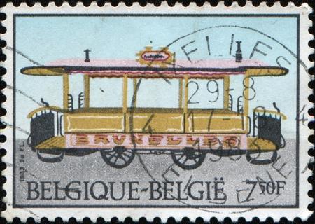 BELGIUM - CIRCA 1983: A stamp printed in Belgium shows tram, circa 1983 Stock Photo - 9501530